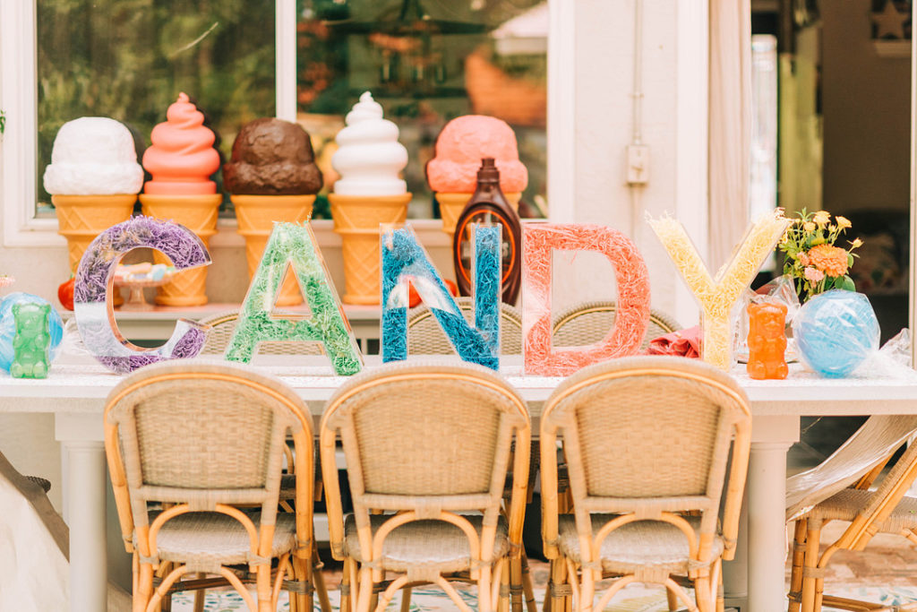 candy acrylic letters for birthday centerpiece