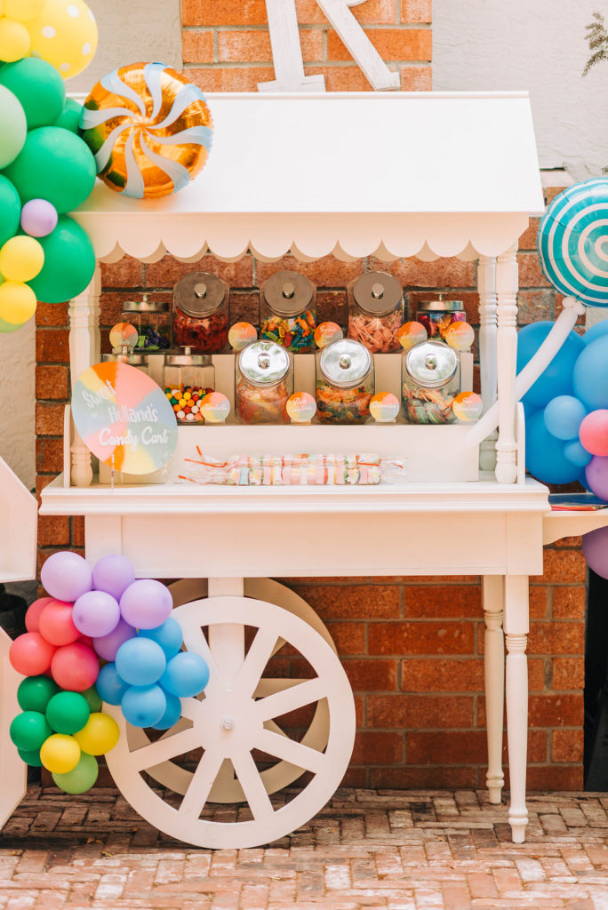 white candy cart at candy land birthday party