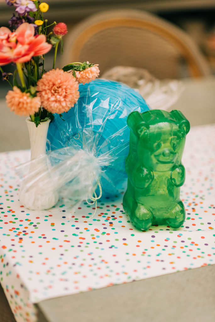 candyland themed centerpiece with giant gummy bear