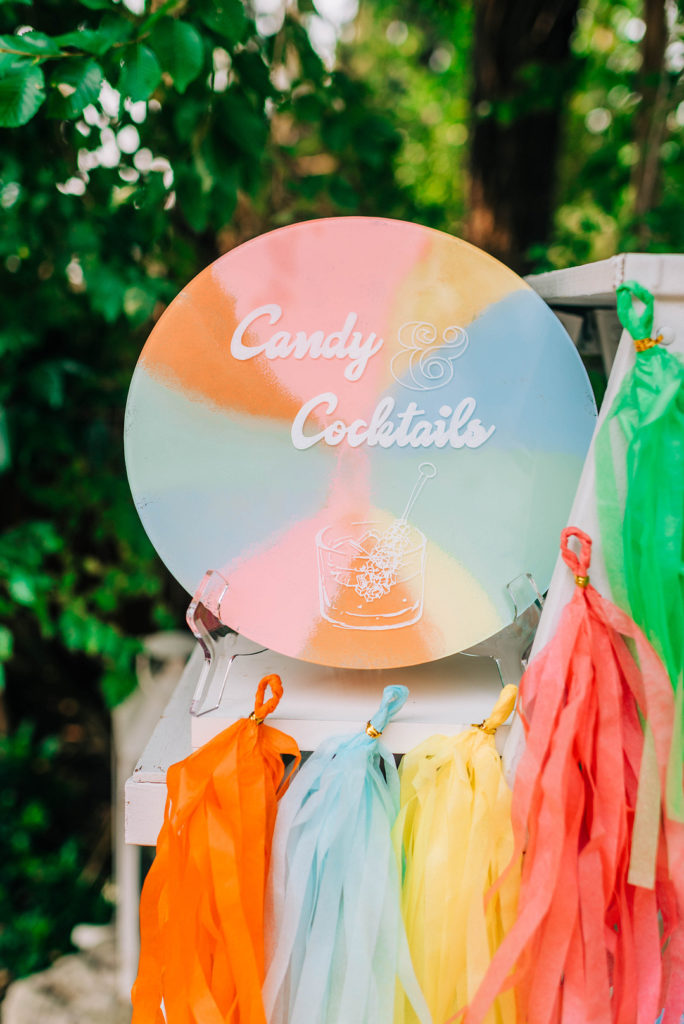 candy land cocktail bar sign