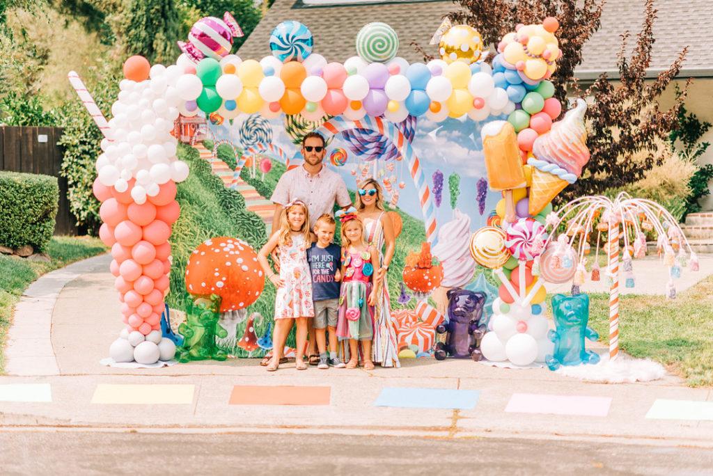candy land themed birthday car parade photo backdrop