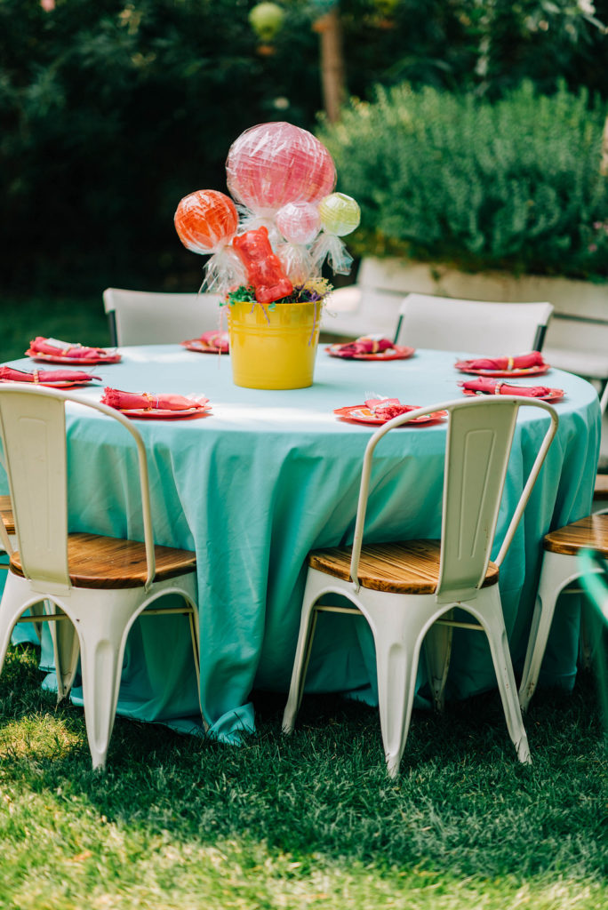 candy land themed table decor
