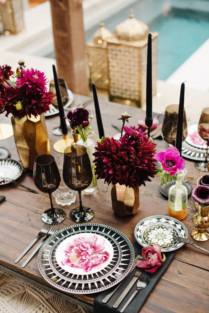 masculine moroccan place setting at dinner party birthday