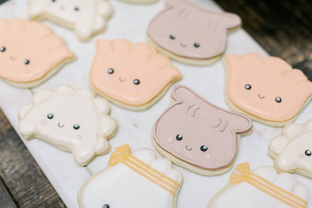 dim sum shaped baby shower cookies
