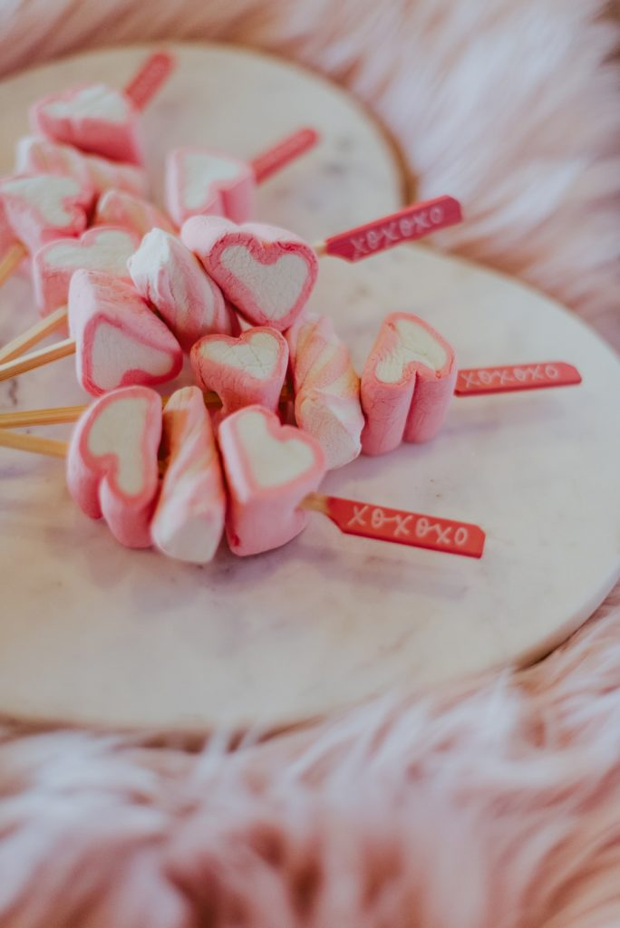 Valentine's candy kabobs with heart marshmallows
