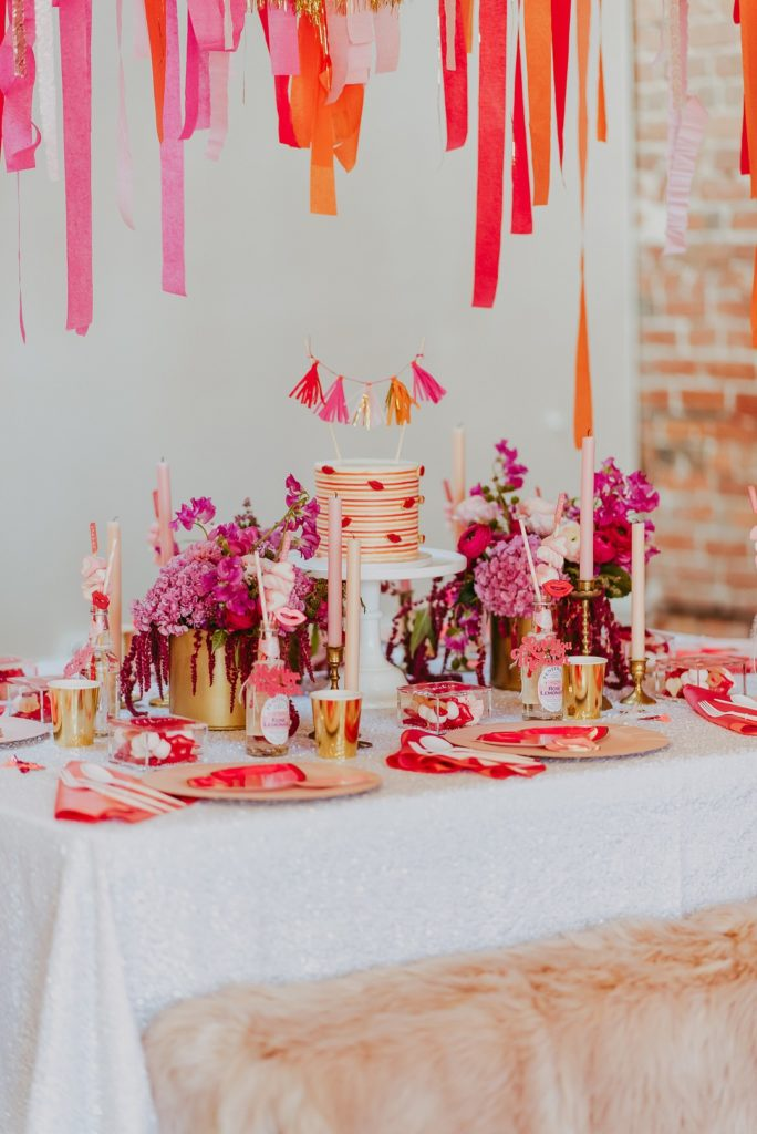 Galentine's Day table setting ideas in orange, pink and white