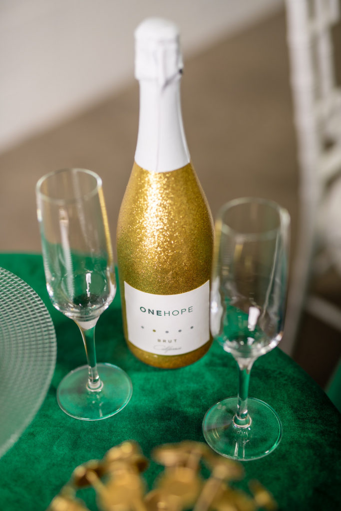 gold glitter champagne for new year's