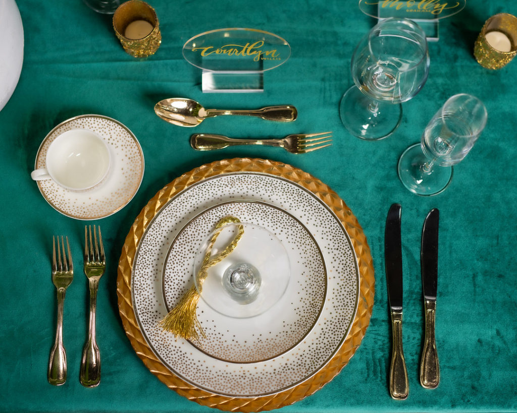 New Year's Party Table Setting in green and gold