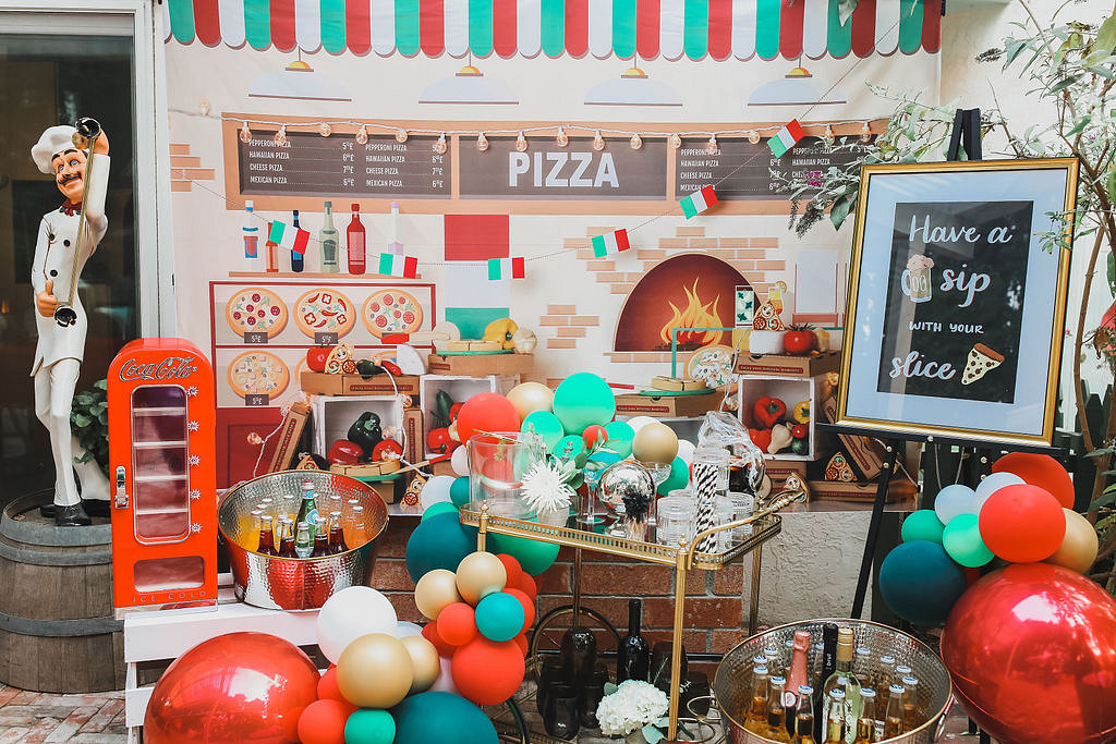 pizza party photo booth and drink bar