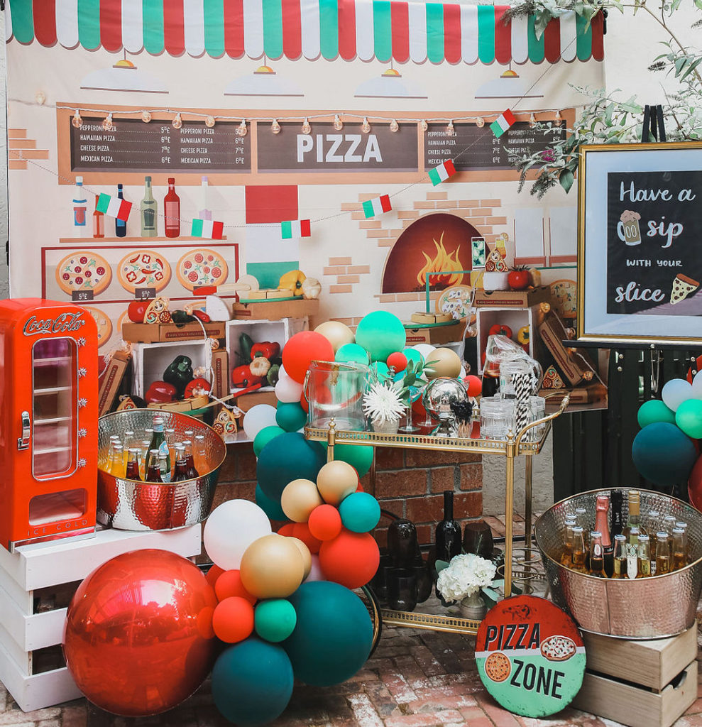 pizza party drink bar