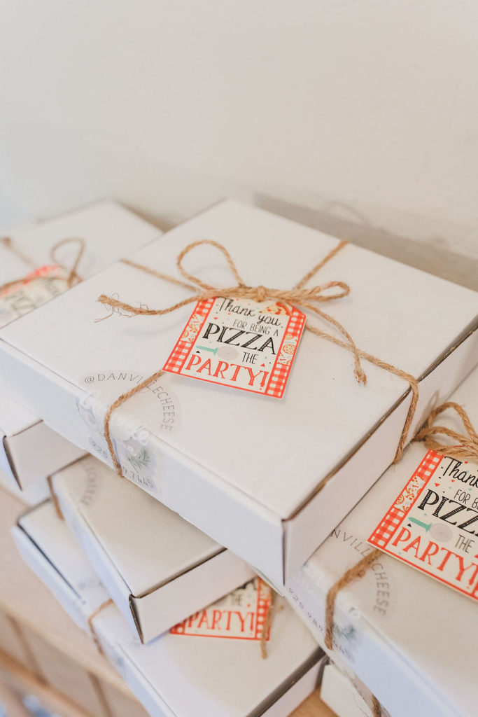 white pizza boxes as party favors