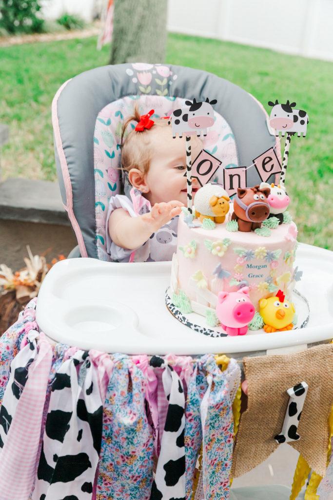 farm animal first birthday smash cake