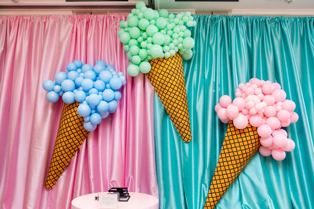 ice cream cone balloons at party