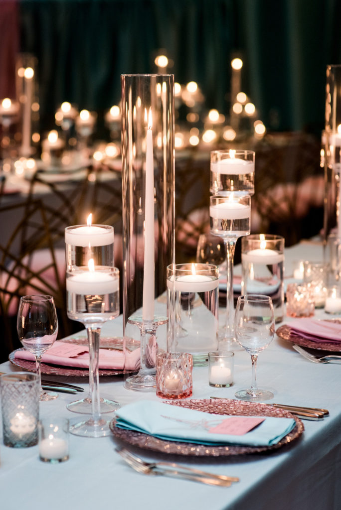 candle centerpieces at 13th birthday party