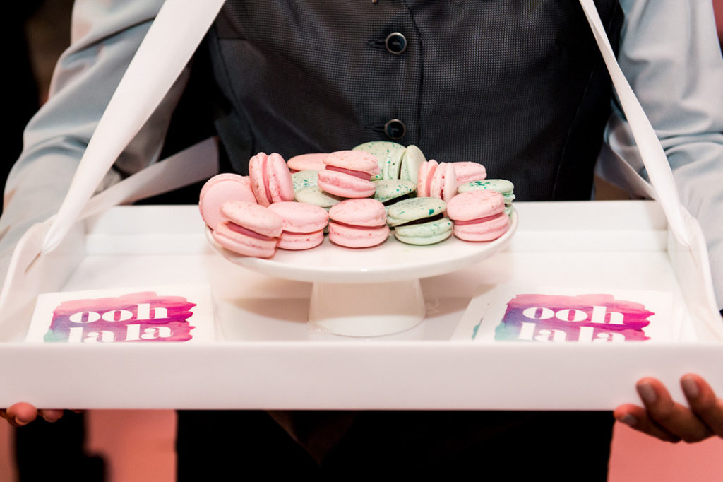 macarons on serving tray