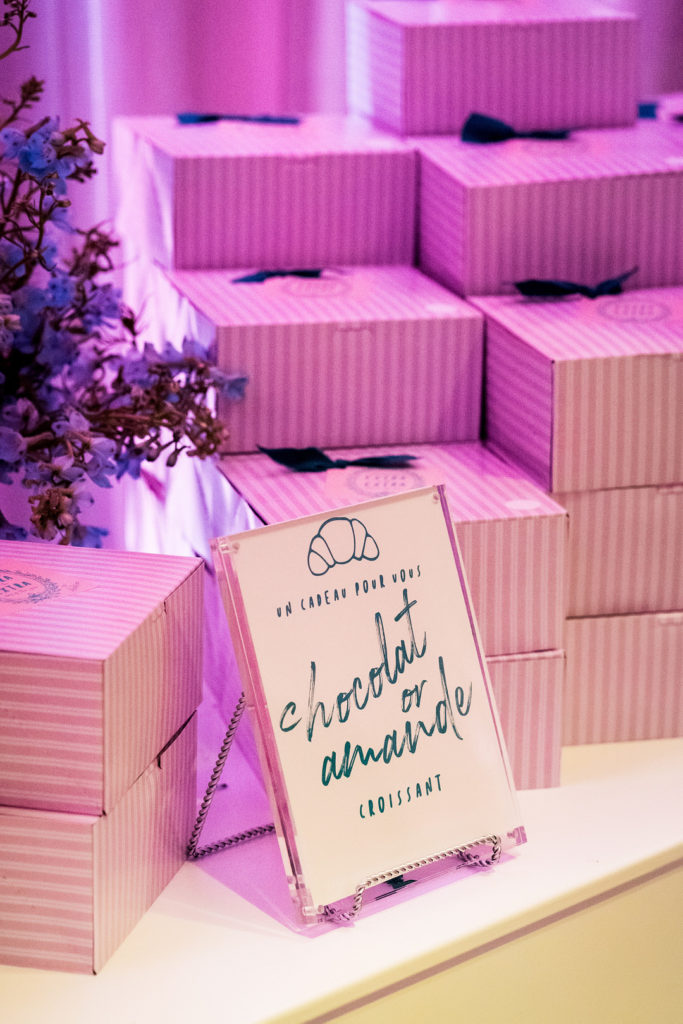 paris birthday party favor boxes with croissants
