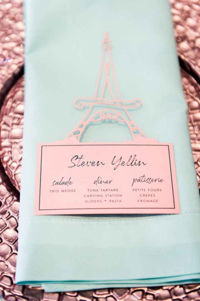 Eiffel Tower place card at party