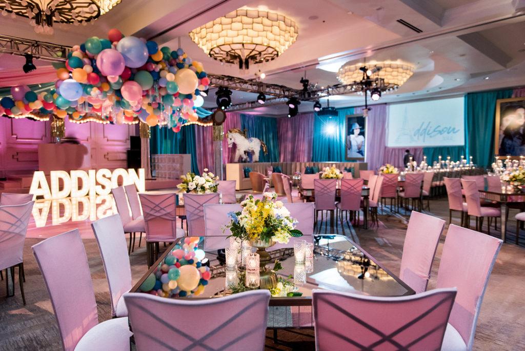 Paris themed party tables at bat mitzvah