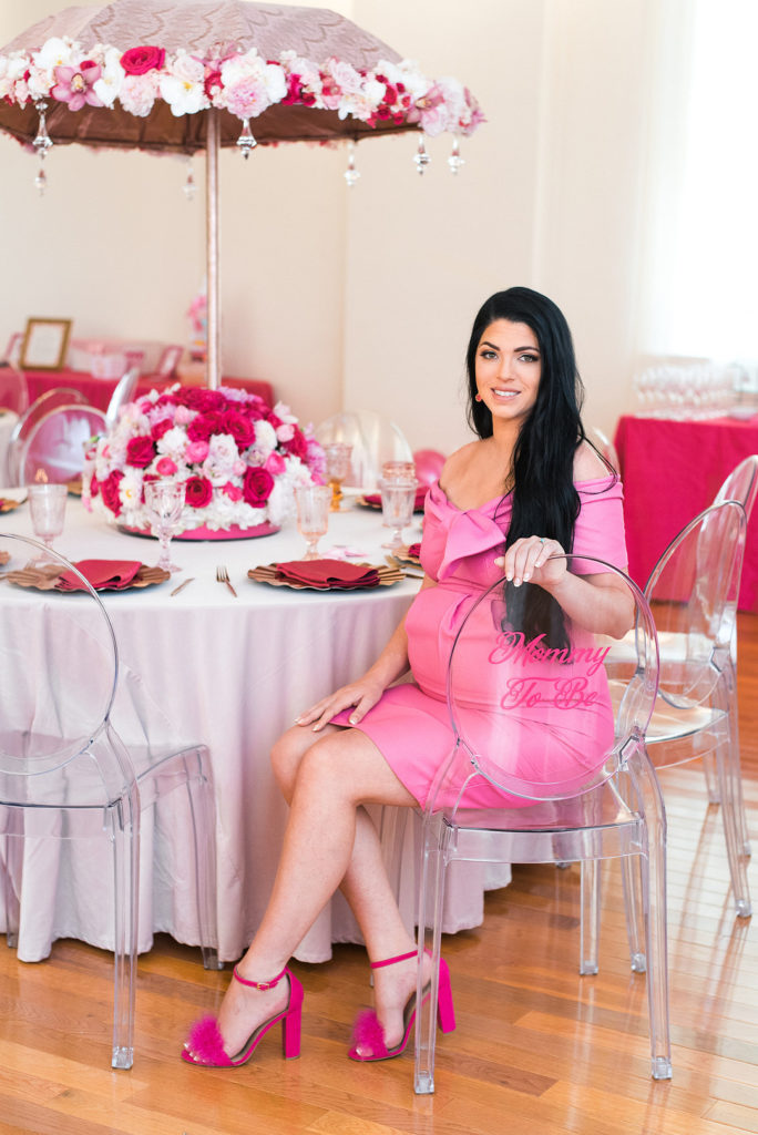 mom to be at pink baby shower