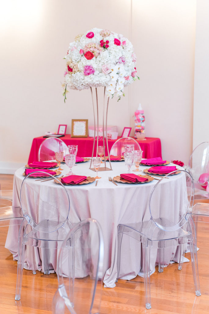 pink baby shower table decor ideas