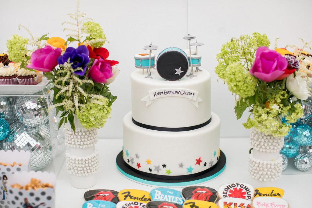 birthday cake with drum set