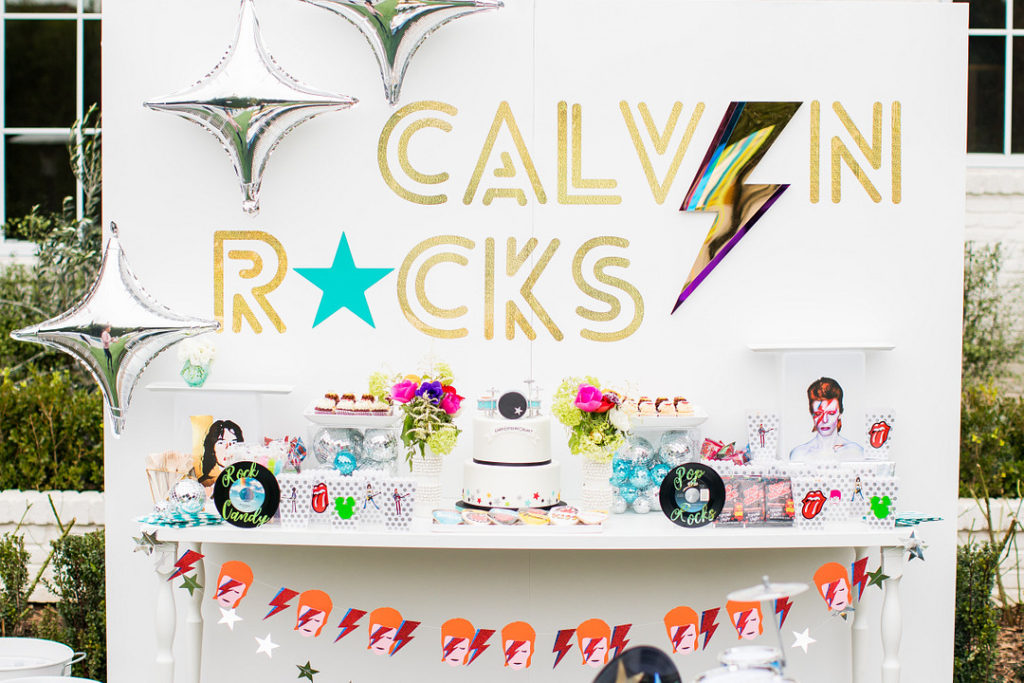 rock and roll themed dessert table display
