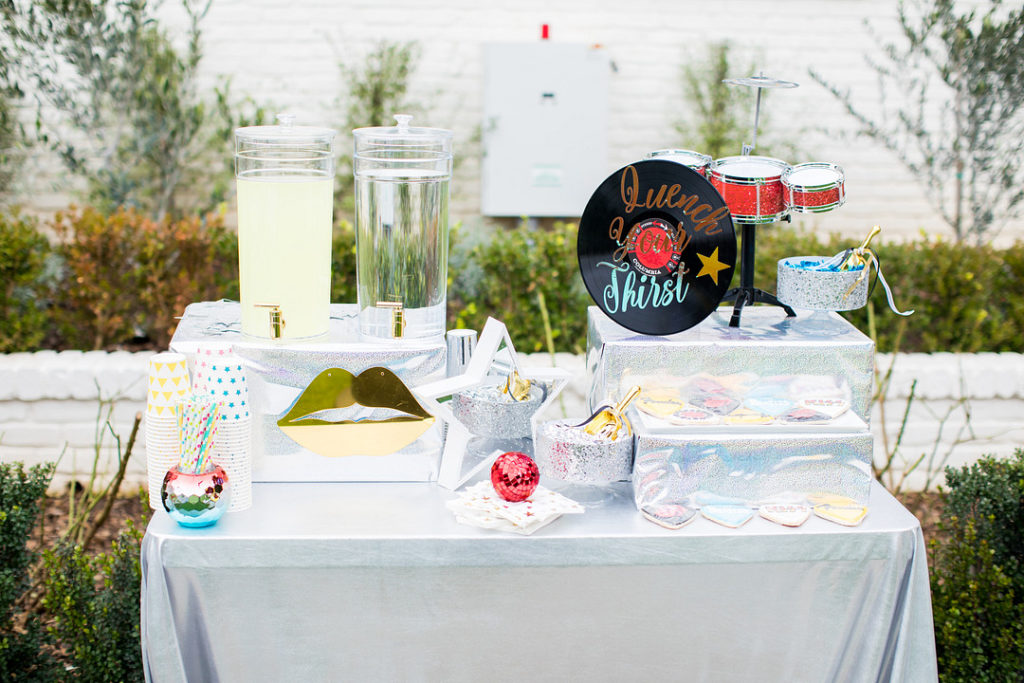 rock and roll themed birthday party drink station