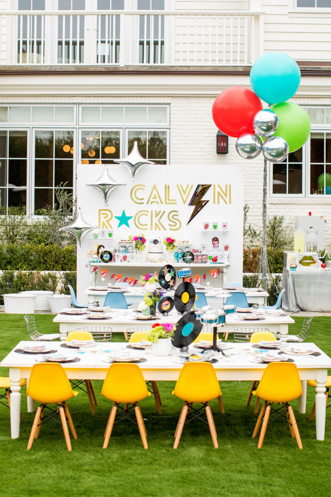 rock and roll themed birthday party table setup