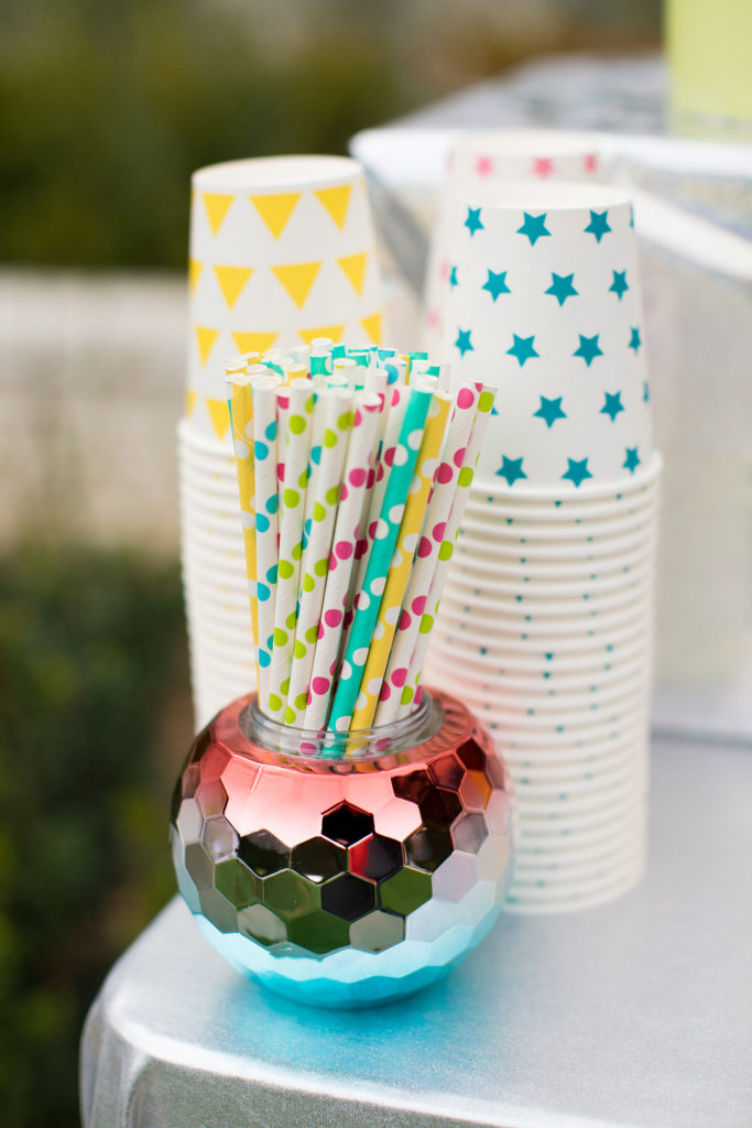 party straws in a disco ball cup
