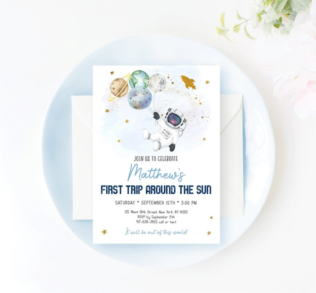 astronaut space first birthday party invitation