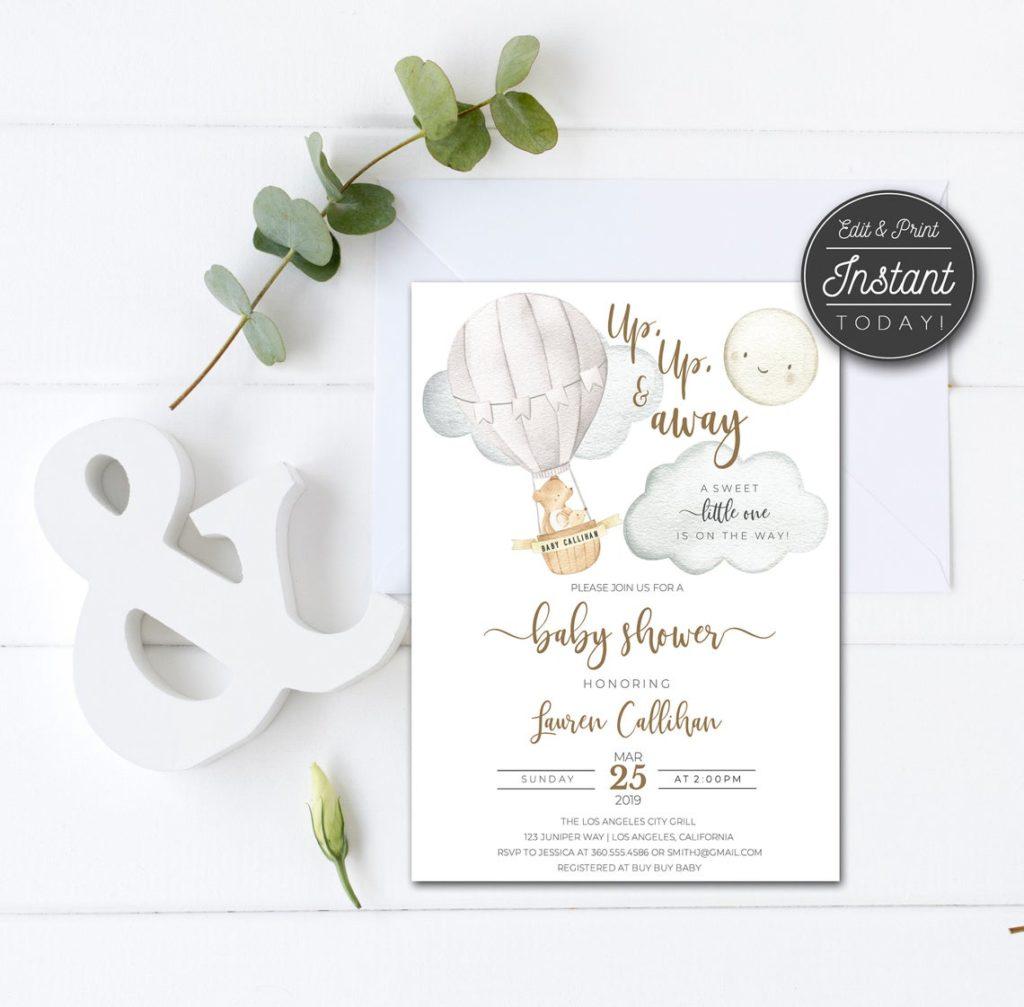 hot air balloon baby shower invitation