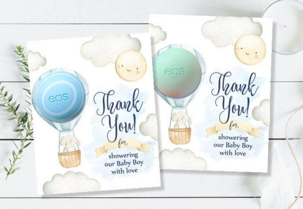 hot air balloon lip balm party favor cards