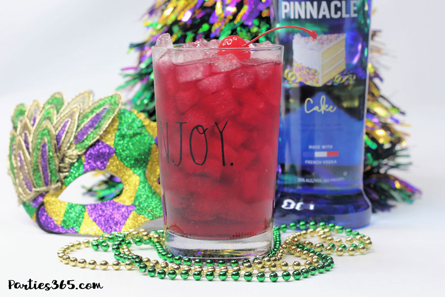 mardi gras cocktail made with vodka