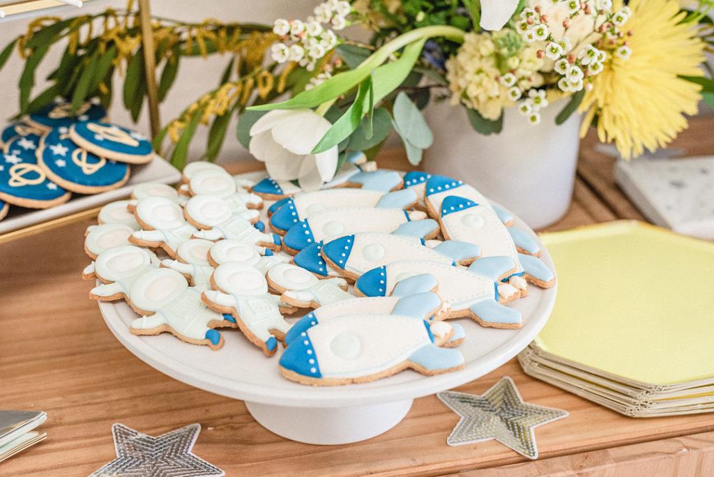 rocket ship sugar cookies at birthday party