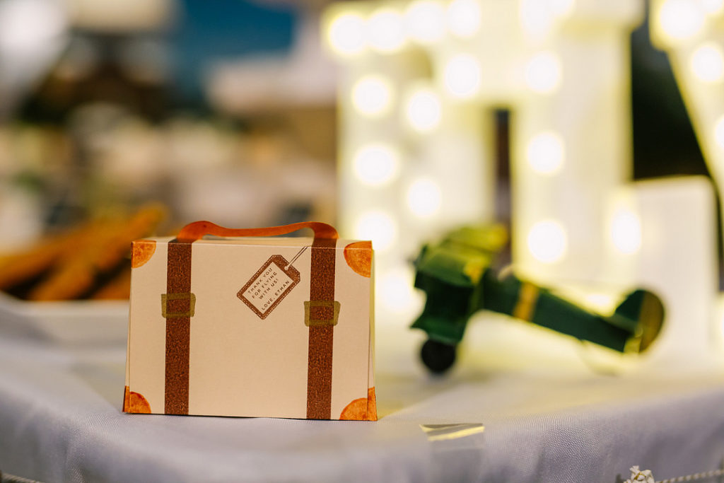 suitcase favor box at birthday party