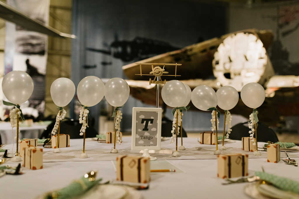 airplane themed dinner table with balloons