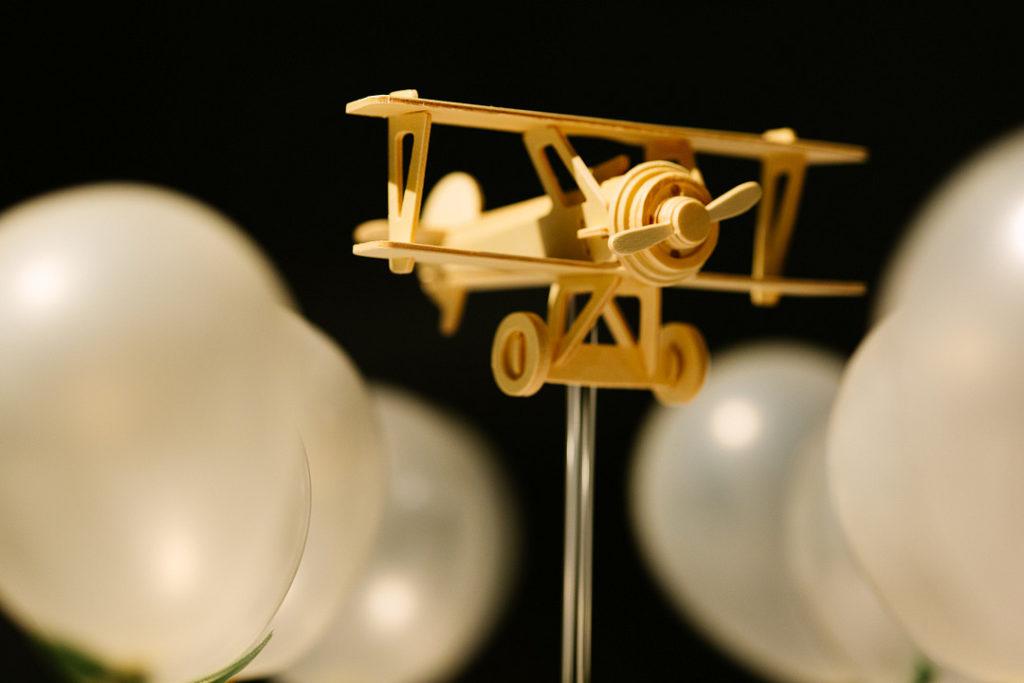 wooden airplane centerpiece