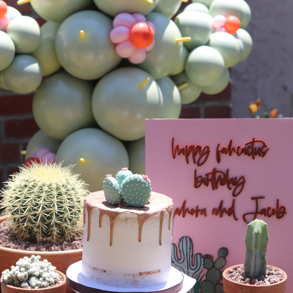 cactus cake and dessert table at birthday party