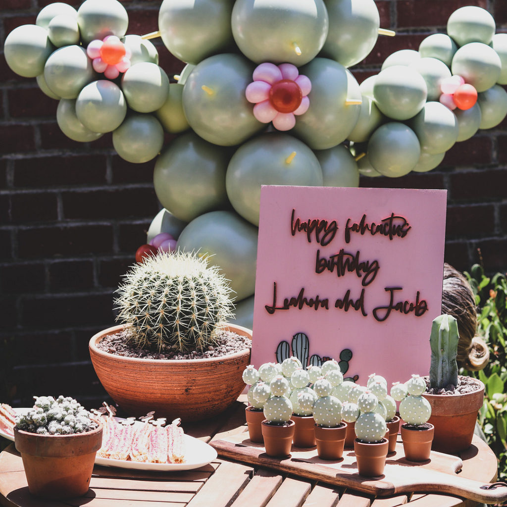 cactus macarons and dessert table at birthday party