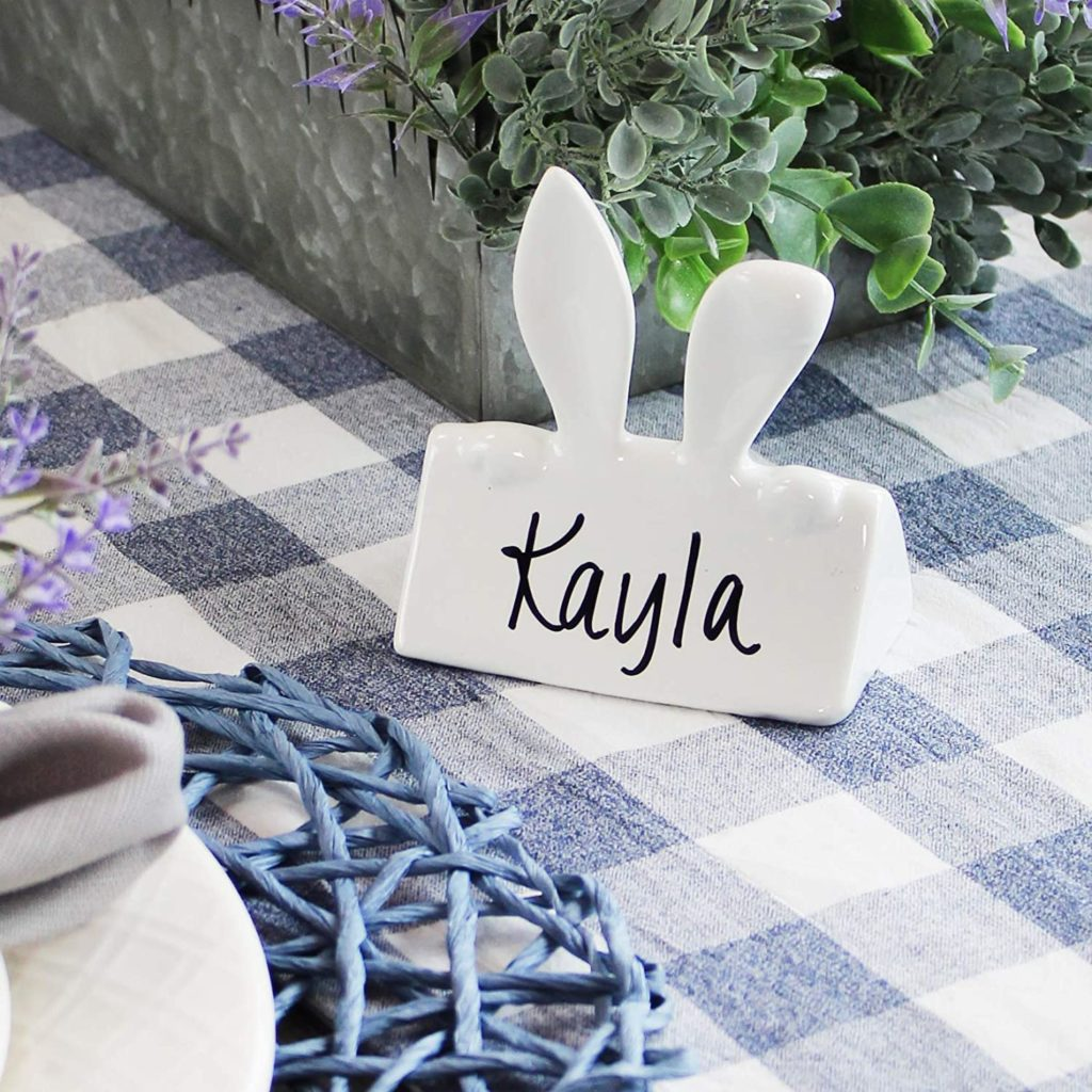 white ceramic bunny ears for name card at Easter place setting