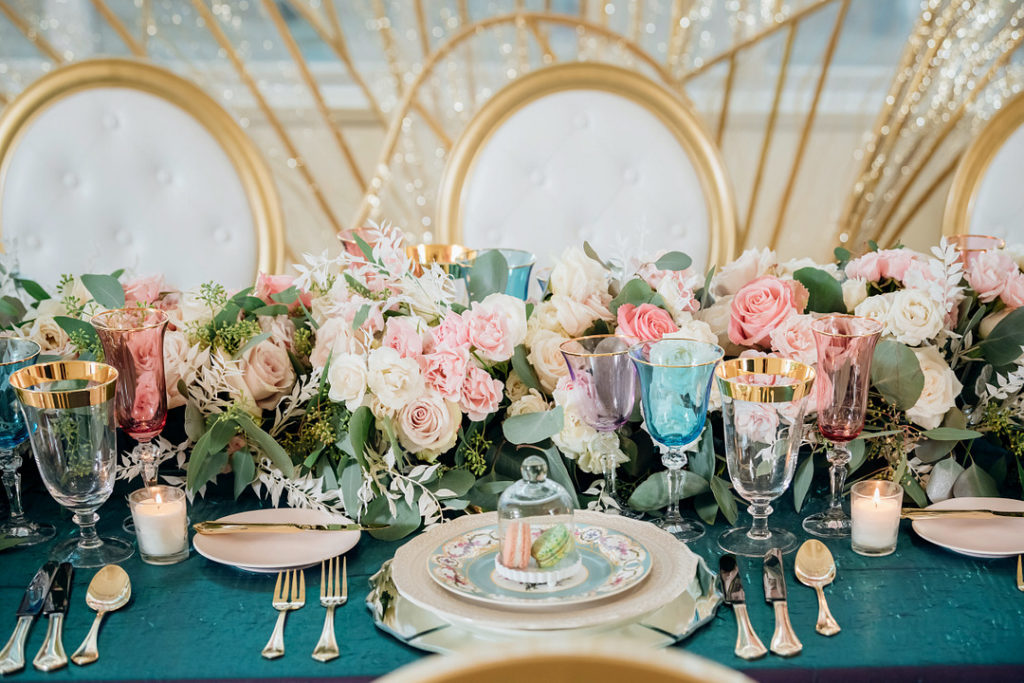 pastel Easter tablescape with roses