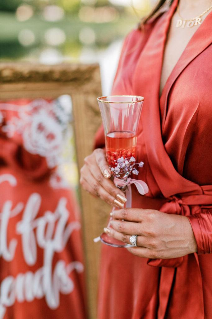 ruby champagne glass