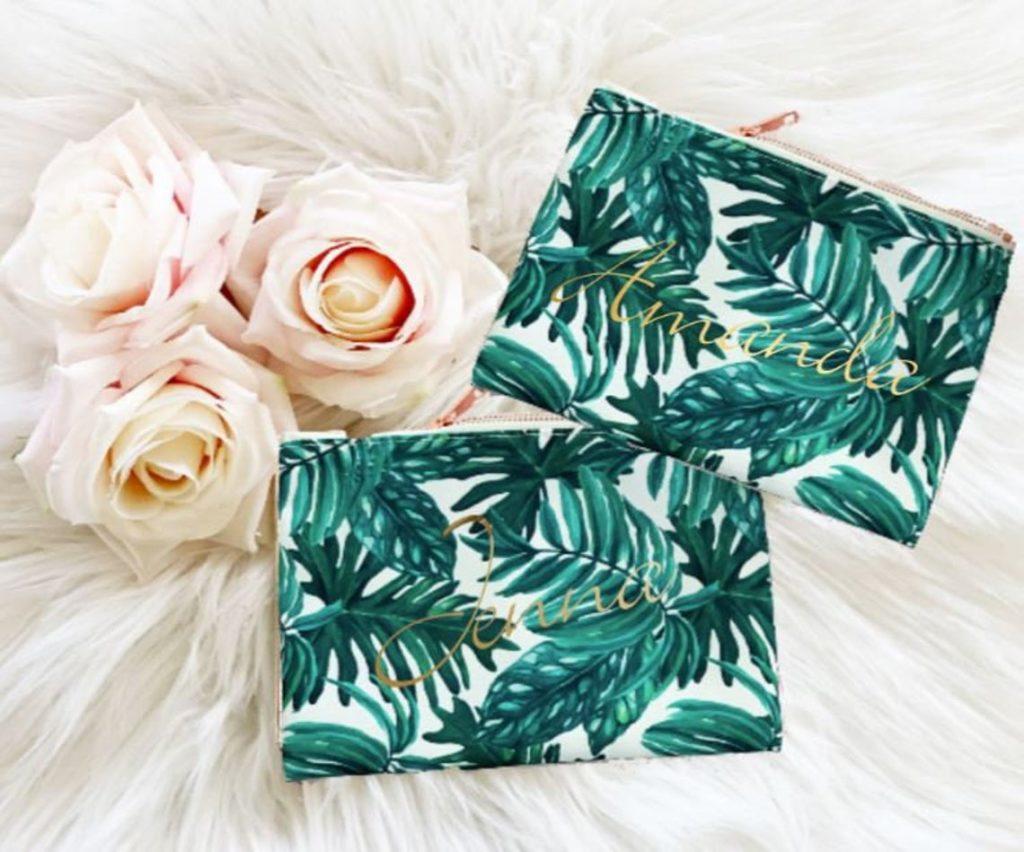 tropical palm leaf makeup bag party favor