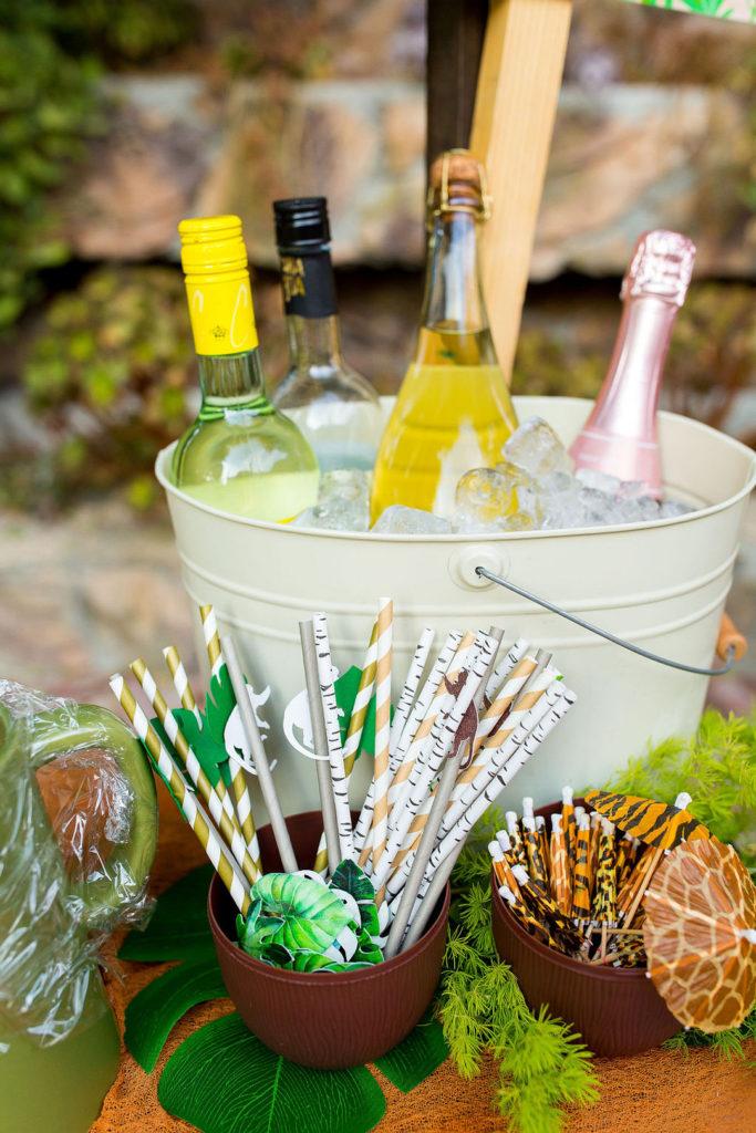 drinks at a safari birthday party