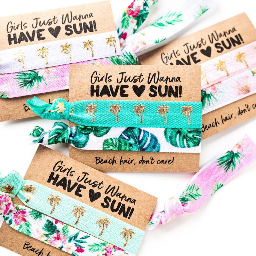 tropical hair tie party favors
