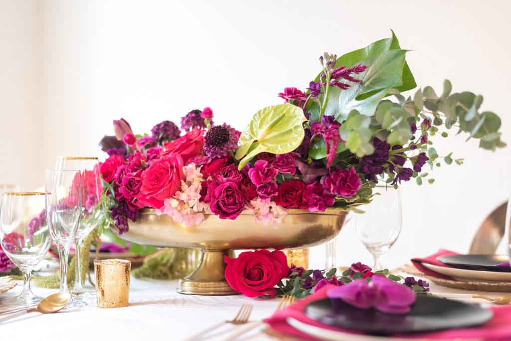 tropical floral centerpiece