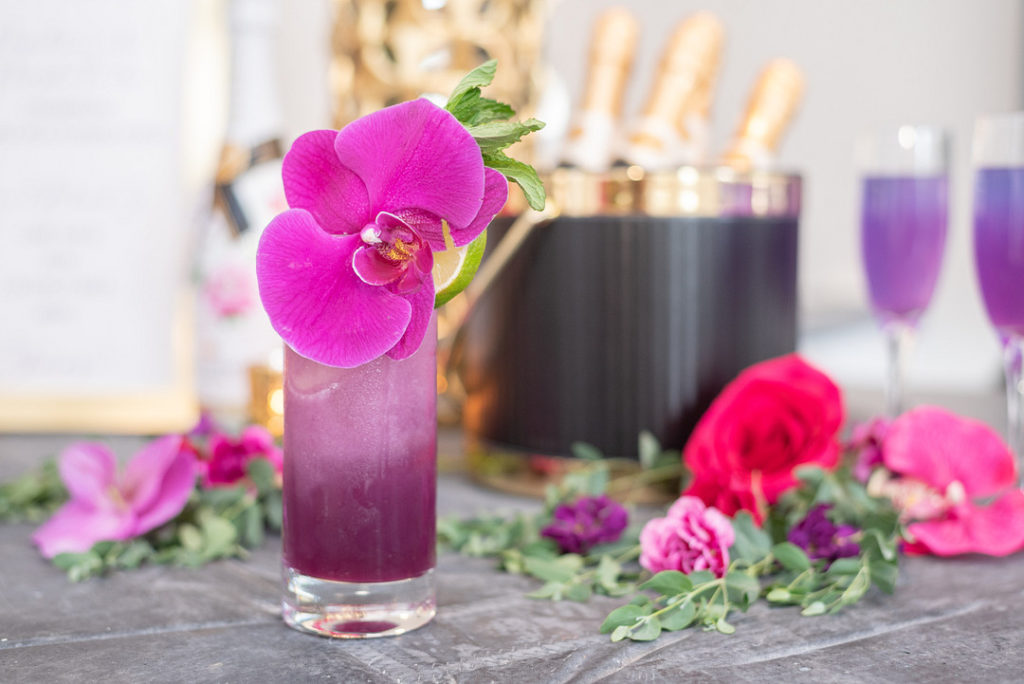 tropical purple champagne cocktail