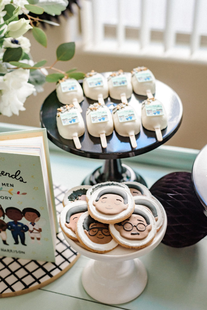 custom cake pops and sugar cookies at kid's birthday party