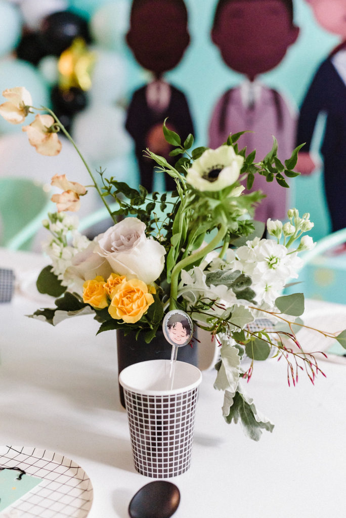 floral arrangement at boys birthday party